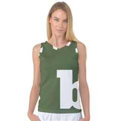 Square Alphabet Green White Sign Women s Basketball Tank Top by Alisyart