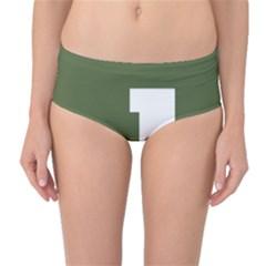 Square Alphabet Green White Sign Mid Waist Bikini Bottoms