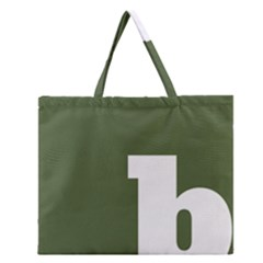 Square Alphabet Green White Sign Zipper Large Tote Bag by Alisyart