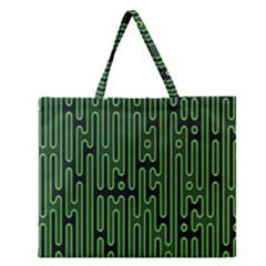 Pipes Green Light Circle Zipper Large Tote Bag by Alisyart