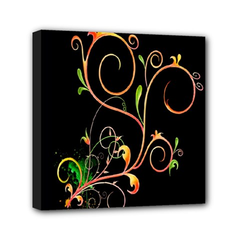 Flowers Neon Color Mini Canvas 6  X 6  by Simbadda