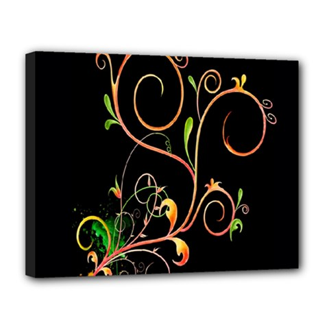 Flowers Neon Color Canvas 14  X 11  by Simbadda