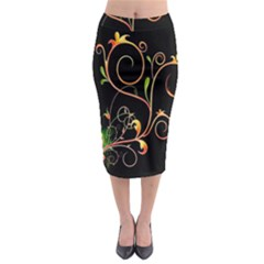 Flowers Neon Color Midi Pencil Skirt by Simbadda