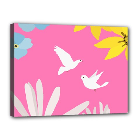 Spring Flower Floral Sunflower Bird Animals White Yellow Pink Blue Canvas 16  X 12  by Alisyart