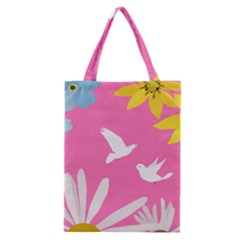 Spring Flower Floral Sunflower Bird Animals White Yellow Pink Blue Classic Tote Bag by Alisyart