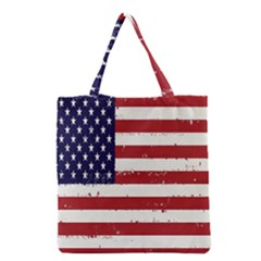 Flag United States United States Of America Stripes Red White Grocery Tote Bag by Simbadda