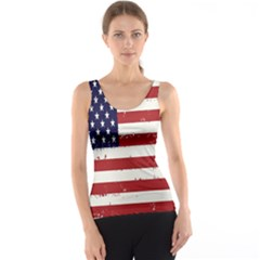 Flag United States United States Of America Stripes Red White Tank Top by Simbadda