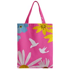 Spring Flower Floral Sunflower Bird Animals White Yellow Pink Blue Zipper Classic Tote Bag by Alisyart