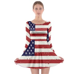 Flag United States United States Of America Stripes Red White Long Sleeve Skater Dress