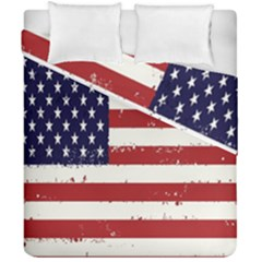 Flag United States United States Of America Stripes Red White Duvet Cover Double Side (california King Size) by Simbadda
