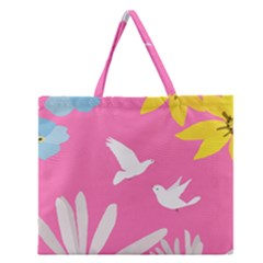 Spring Flower Floral Sunflower Bird Animals White Yellow Pink Blue Zipper Large Tote Bag by Alisyart