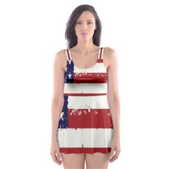 Flag United States United States Of America Stripes Red White Skater Dress Swimsuit by Simbadda