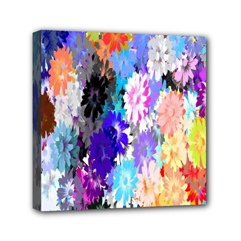 Flowers Colorful Drawing Oil Mini Canvas 6  X 6  by Simbadda