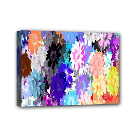 Flowers Colorful Drawing Oil Mini Canvas 7  X 5  by Simbadda