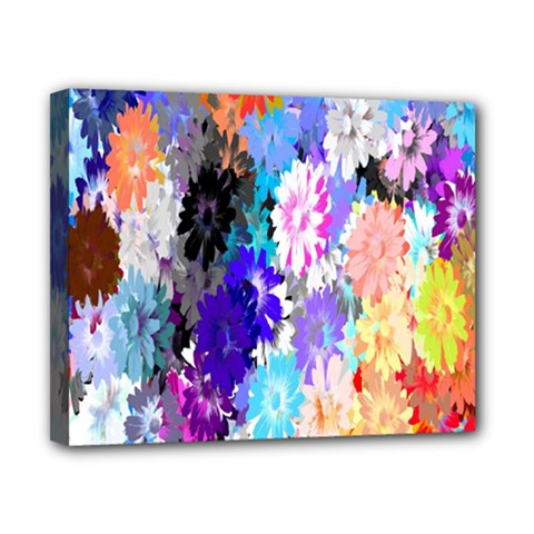 Flowers Colorful Drawing Oil Canvas 10  X 8  by Simbadda