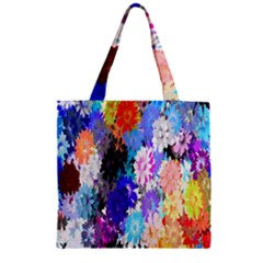 Flowers Colorful Drawing Oil Zipper Grocery Tote Bag by Simbadda