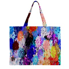 Flowers Colorful Drawing Oil Zipper Mini Tote Bag by Simbadda