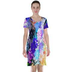 Flowers Colorful Drawing Oil Short Sleeve Nightdress