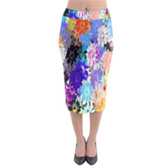 Flowers Colorful Drawing Oil Midi Pencil Skirt by Simbadda