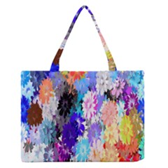 Flowers Colorful Drawing Oil Medium Zipper Tote Bag by Simbadda