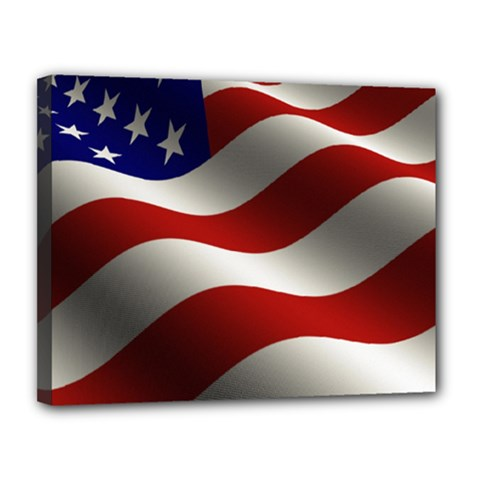 Flag United States Stars Stripes Symbol Canvas 14  X 11  by Simbadda