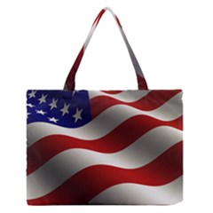 Flag United States Stars Stripes Symbol Medium Zipper Tote Bag by Simbadda