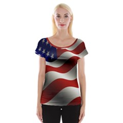 Flag United States Stars Stripes Symbol Women s Cap Sleeve Top