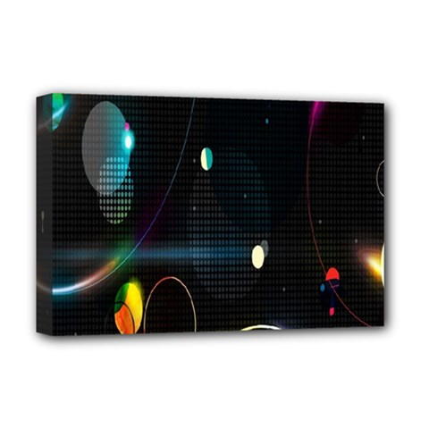 Glare Light Luster Circles Shapes Deluxe Canvas 18  X 12   by Simbadda