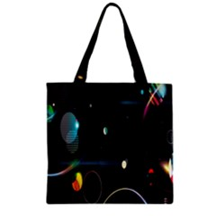 Glare Light Luster Circles Shapes Zipper Grocery Tote Bag by Simbadda