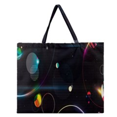Glare Light Luster Circles Shapes Zipper Large Tote Bag by Simbadda