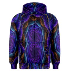Flowers Dive Neon Light Patterns Men s Zipper Hoodie