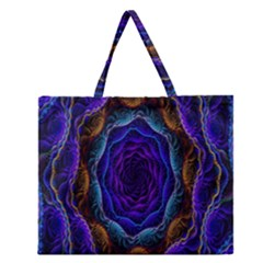 Flowers Dive Neon Light Patterns Zipper Large Tote Bag by Simbadda