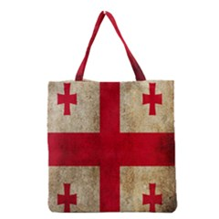 Georgia Flag Mud Texture Pattern Symbol Surface Grocery Tote Bag by Simbadda