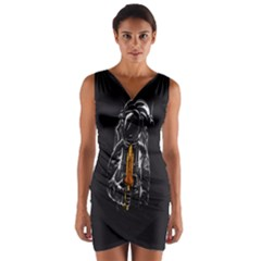 Humor Rocket Ice Cream Funny Astronauts Minimalistic Black Background Wrap Front Bodycon Dress