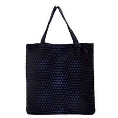 Hexagonal White Dark Mesh Grocery Tote Bag by Simbadda