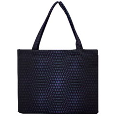 Hexagonal White Dark Mesh Mini Tote Bag by Simbadda