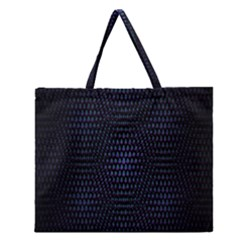 Hexagonal White Dark Mesh Zipper Large Tote Bag by Simbadda