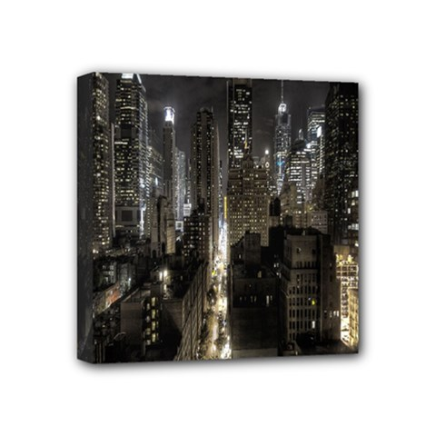New York United States Of America Night Top View Mini Canvas 4  X 4  by Simbadda
