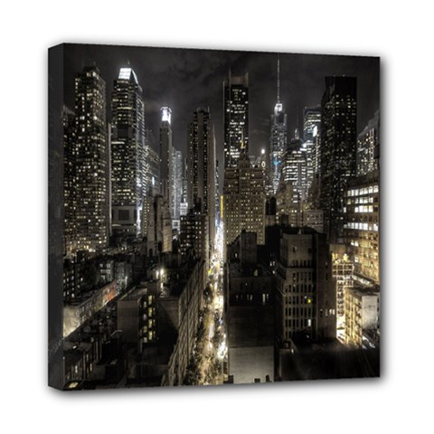 New York United States Of America Night Top View Mini Canvas 8  X 8  by Simbadda
