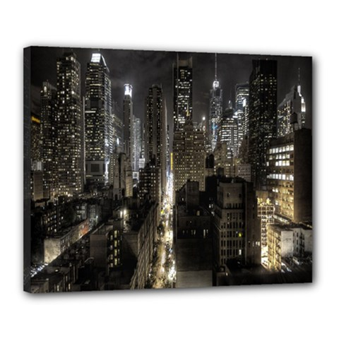 New York United States Of America Night Top View Canvas 20  X 16  by Simbadda