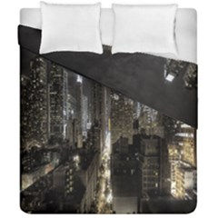 New York United States Of America Night Top View Duvet Cover Double Side (california King Size) by Simbadda