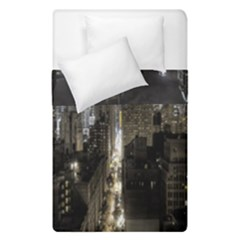 New York United States Of America Night Top View Duvet Cover Double Side (single Size) by Simbadda