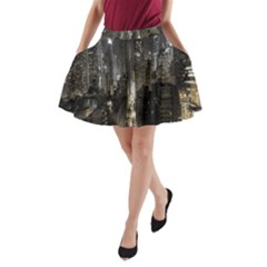 New York United States Of America Night Top View A Line Pocket Skirt by Simbadda