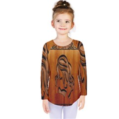 Pattern Shape Wood Background Texture Kids  Long Sleeve Tee by Simbadda