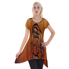 Pattern Shape Wood Background Texture Short Sleeve Side Drop Tunic by Simbadda