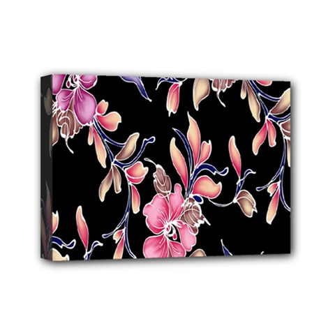 Neon Flowers Black Background Mini Canvas 7  X 5  by Simbadda