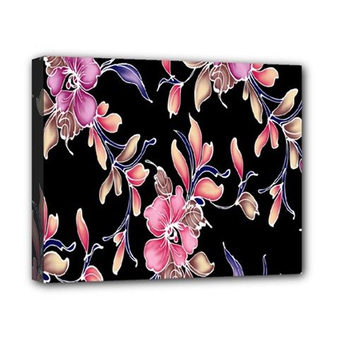 Neon Flowers Black Background Canvas 10  X 8