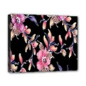 Neon Flowers Black Background Canvas 10  x 8  View1