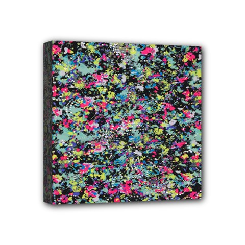 Neon Floral Print Silver Spandex Mini Canvas 4  X 4  by Simbadda