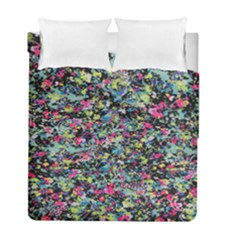 Neon Floral Print Silver Spandex Duvet Cover Double Side (full/ Double Size) by Simbadda